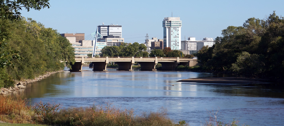 Arkansas River winding near Wichita